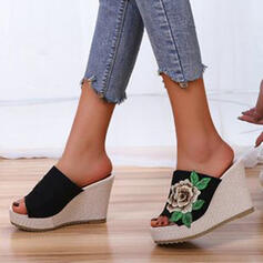Women's PU Wedge Heel Sandals Wedges Peep Toe Slippers Heels Round Toe With Flower Solid Color shoes