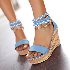 Women's PU Wedge Heel Sandals Wedges Peep Toe With Hollow-out Braided Strap shoes