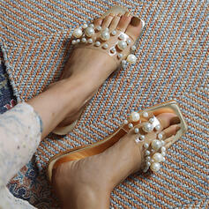Women's PU Flat Heel Sandals Peep Toe Square Toe With Pearl shoes