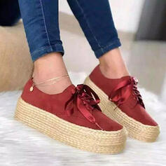 Women's Suede Flat Heel Flats Round Toe Loafers & Slip-Ons With Bowknot Solid Color shoes