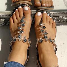 Women's PU Flat Heel Sandals Flats Peep Toe Flip-Flops Slippers With Rhinestone shoes