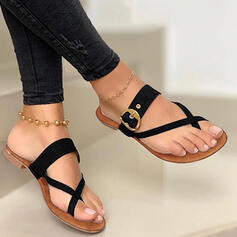 Women's PU Low Heel Sandals Flats Slippers Toe Ring With Hollow-out Solid Color Crisscross shoes