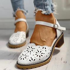 Women's PU Espadrille Heel Loafers With Buckle shoes