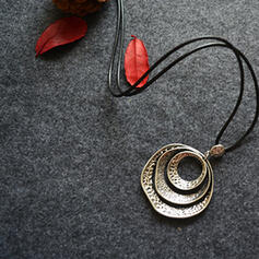 Vintage Classic Alloy Wooden Beads With Circle Decor Women's Men's Necklaces