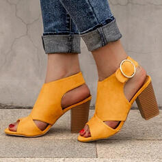 Women's PU Chunky Heel Sandals Peep Toe With Buckle Solid Color shoes