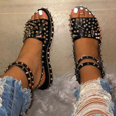 Women's PU Flat Heel Sandals Flats Peep Toe With Lace-up Solid Color shoes
