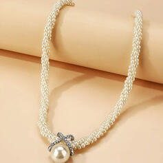 Elegant Alloy Rhinestones Imitation Pearls With Imitation Pearls Women's Necklaces 1 PC
