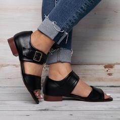Women's PU Flat Heel Sandals Peep Toe With Buckle Bandage shoes