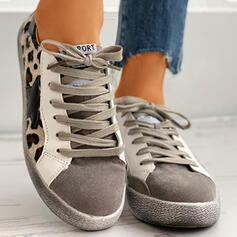 Women's PU Flat Heel Flats Round Toe With Animal Print Lace-up shoes