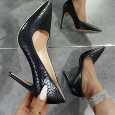 Women's PU Stiletto Heel Sandals Pumps Closed Toe Pointed Toe With Solid Color shoes