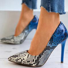 Frauen PU Stöckel Absatz Absatzschuhe Spitze mit Tierdruckmuster Spleißfarbe Schuhe