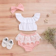3-pieces Baby Girl Ruffle Solid Lace Cotton Set