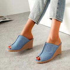Women's Denim Wedge Heel Sandals Pumps Peep Toe Heels Round Toe With Patchwork shoes