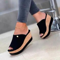 Women's Denim Wedge Heel Sandals Wedges Peep Toe Slippers Heels With Solid Color shoes