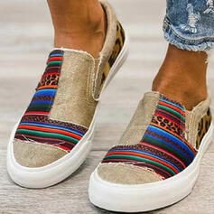 Women's Canvas Flat Heel Espadrille Slip On With Splice Color shoes
