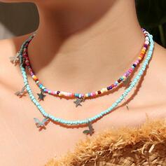 Bunte Boho Geschichtet Legierung Perlen mit Schmetterling Star Halsketten 2 STÜCK