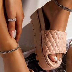 Women's PU Flat Heel Sandals Pumps Platform Peep Toe Slippers Heels With Solid Color shoes
