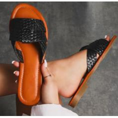 Women's Leatherette Flat Heel Sandals Flats Slippers With Braided Strap shoes