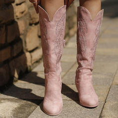 Women's Leatherette Chunky Heel Mid-Calf Boots Martin Boots Pointed Toe With Embroidery shoes