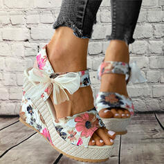 Women's Cloth Wedge Heel Sandals Platform Wedges Peep Toe Heels With Bowknot Hollow-out shoes