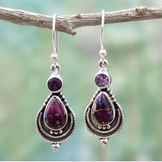 Vintage Boho Attractive Alloy Glass Women's Earrings 2 PCS