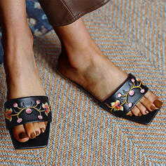 Women's PU Flat Heel Sandals Peep Toe Square Toe With Satin Flower shoes