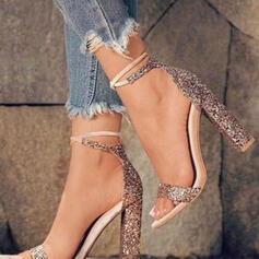 Women's Sparkling Glitter Chunky Heel Sandals Pumps Peep Toe Heels With Sparkling Glitter Lace-up Hollow-out shoes