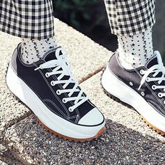 Women's Canvas Flat Heel Flats Round Toe Sneakers Loafers & Slip-Ons With Animal Print Lace-up shoes