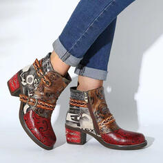 Women's PU Chunky Heel Boots Ankle Boots With Zipper Splice Color Floral Print shoes
