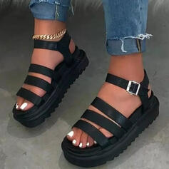 Frauen Kunstleder Flascher Absatz Sandalen Flache Schuhe Plateauschuh Peep Toe mit Schnalle Schuhe