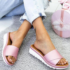 Women's PU Wedge Heel Sandals Wedges Peep Toe Slippers With Solid Color shoes