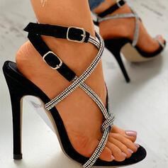 Women's Leatherette Stiletto Heel Pumps Peep Toe With Rhinestone Buckle Crisscross shoes