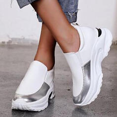 Women's PU Flat Heel Flats Round Toe Loafers Sneakers Slip On With Splice Color shoes