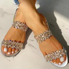 Women's Cloth Flat Heel Sandals Peep Toe With Rhinestone Sparkling Glitter shoes