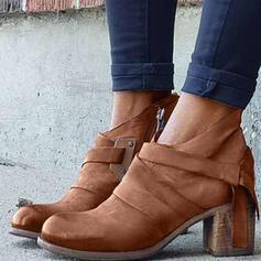 Frauen Veloursleder Stämmiger Absatz Absatzschuhe Stiefel Stiefelette Round Toe mit Reißverschluss Schuhe