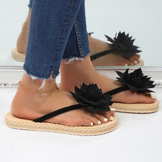 Women's PU Flat Heel Sandals Pumps Peep Toe Slippers Heels With Flower Solid Color shoes