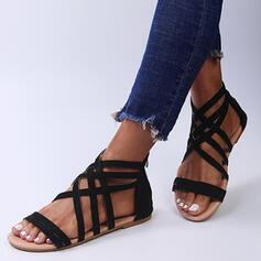 Women's Suede Flat Heel Sandals Flats Peep Toe With Zipper Solid Color Crisscross shoes