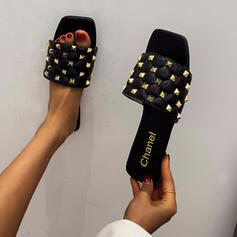 Women's PU Flat Heel Sandals Slippers Square Toe With Rivet Crisscross shoes
