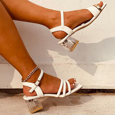Women's PU Chunky Heel Sandals Peep Toe Slingbacks Slippers Heels With Buckle Solid Color shoes