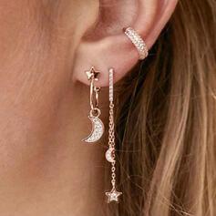 Glänzende Boho Legierung mit Star Mond Strasssteine Ohrringe 3 PCS