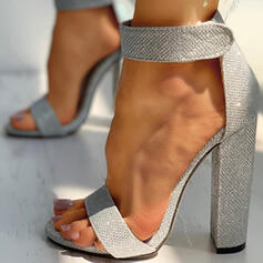 Women's Sparkling Glitter Chunky Heel Sandals Pumps Heels Round Toe With Sparkling Glitter Hollow-out Solid Color shoes