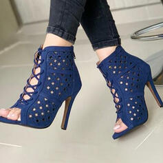 Women's PU Stiletto Heel Sandals Pumps Peep Toe With Solid Color shoes