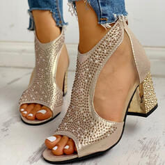 Women's PU Chunky Heel Sandals Pumps With Rhinestone Imitation Pearl Zipper shoes