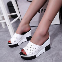 Women's PU Wedge Heel Sandals Platform Wedges Peep Toe Slippers With Hollow-out Dot shoes