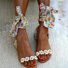 Women's PU Flat Heel Sandals Peep Toe With Patchwork Floral Print shoes