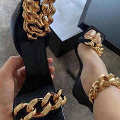 Women's PU Stiletto Heel Sandals Peep Toe Square Toe Heels With Zipper Chain Hollow-out shoes