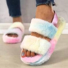 Frauen Flascher Absatz Sandalen Plateauschuh Peep Toe Pantoffel mit Pelz Schuhe