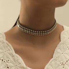 Glänzende Stilvoll Legierung mit Strasssteine Halsketten