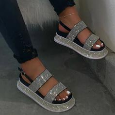 Frauen PU Flascher Absatz Sandalen Plateauschuh Peep Toe mit Strass Schuhe