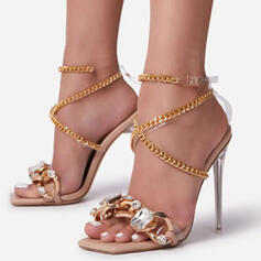 Women's PU Stiletto Heel Pumps Peep Toe Heels With Rhinestone Crisscross shoes